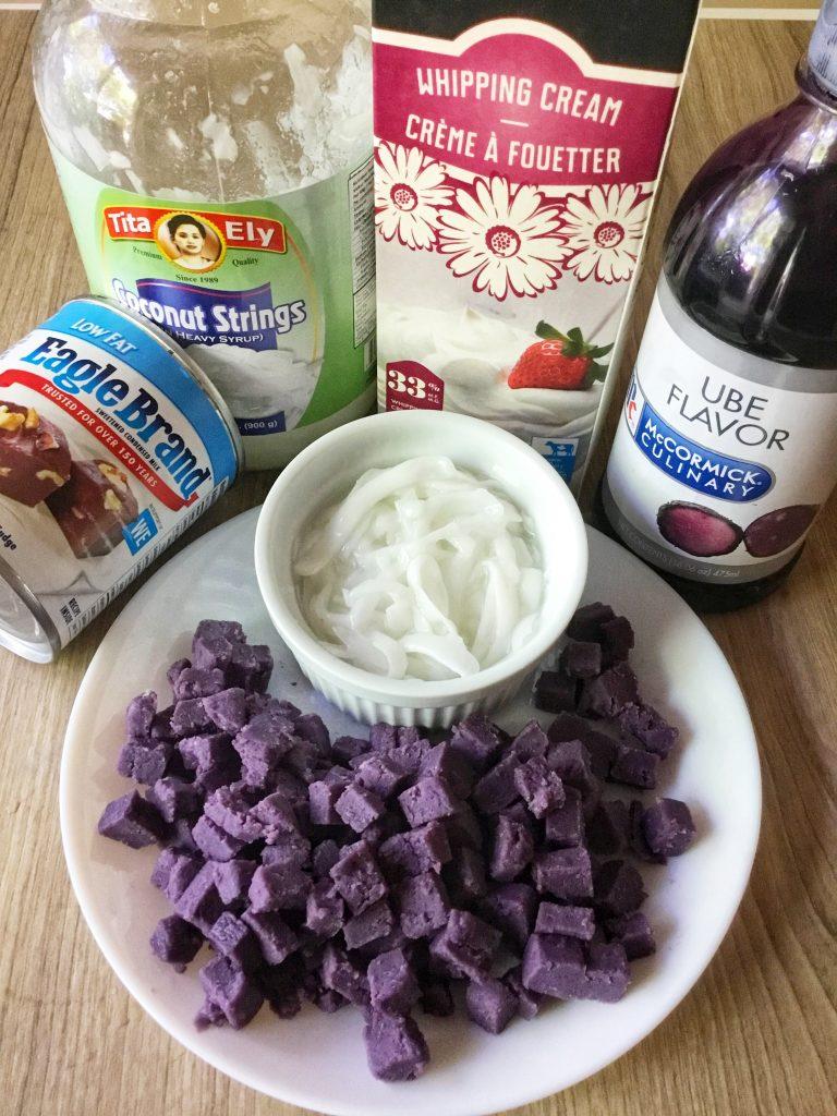 ube macapuno ice cream ingredients
