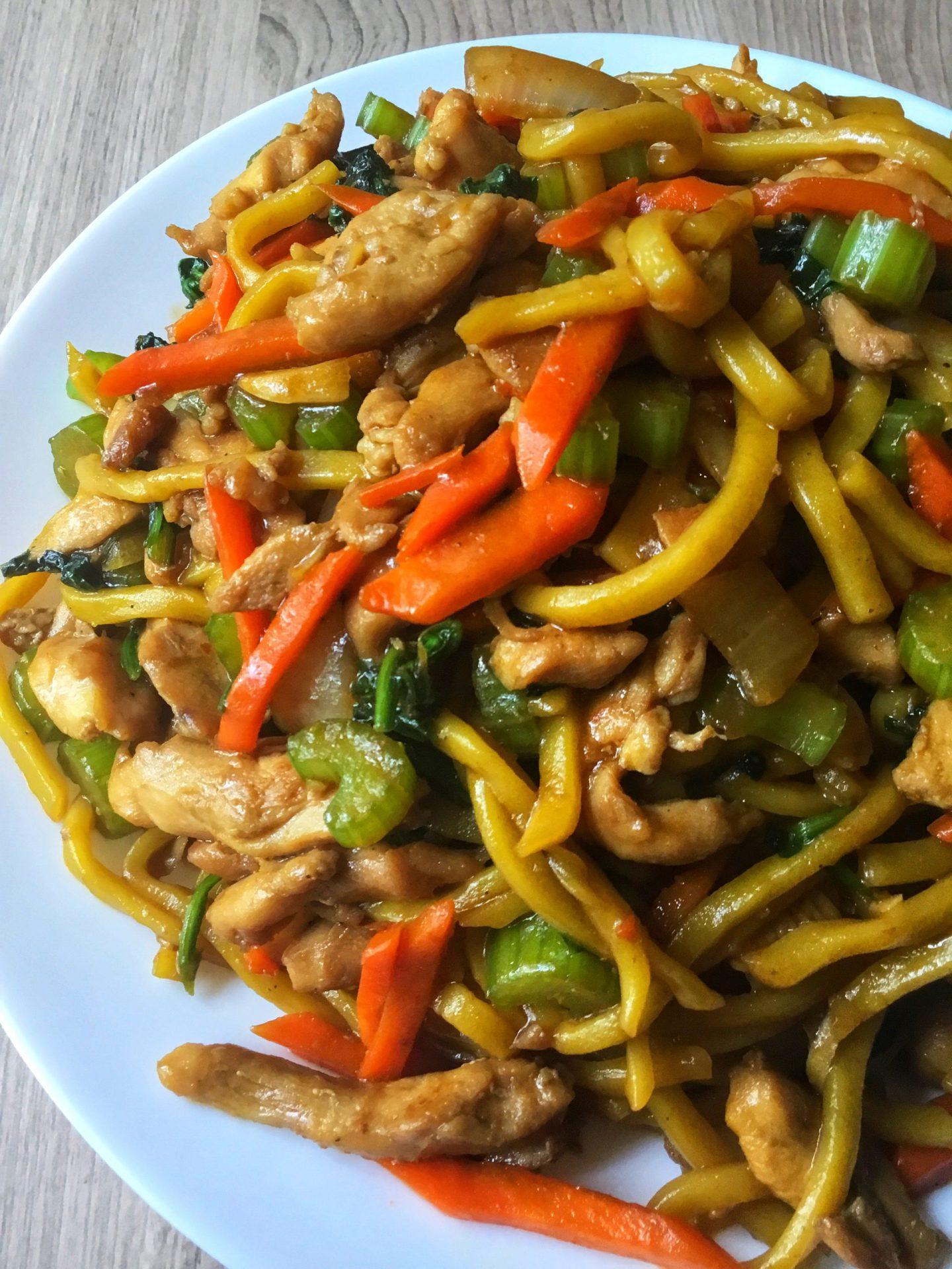 Stir fried lomi noodles